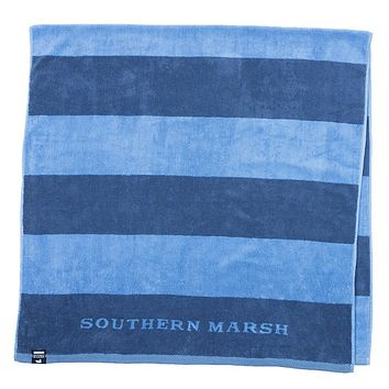 Stripes Beach Towel in Navy & French Blue by Southern Marsh
