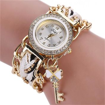 Women Watches Fashion Ladies Braided Band Rhinestone Analog Quartz Wrist Watch Relogio Feminino Ladies watch Clock Women
