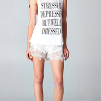 STRESSED DEPRESSED BUT WELL DRESSED TANK - WHITE