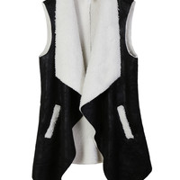 LE3NO Womens Open Front Faux Fur Suede Vest with Pockets (CLEARANCE)