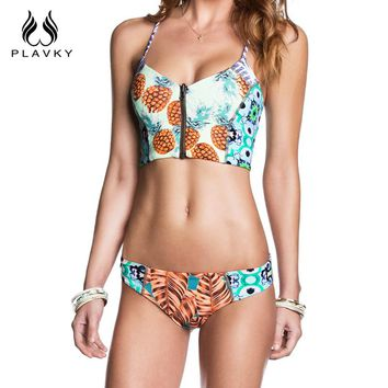 2017 Female Sexy Pineapple Swimsuit Zipper Corset Biquini Thong Swim Wear Bathing Suit Swimwear Women Brazilian Push Up Bikini