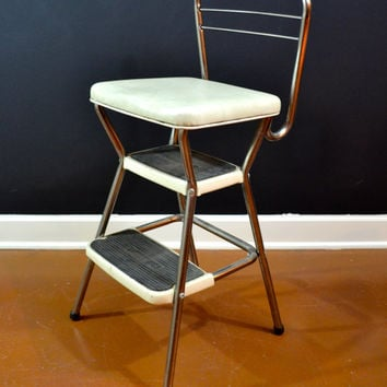 Vintage Cosco Stepping Stool, Convertible Cosco Stool, Chrome and Cream Two Step Stool, Cosco Seat, Vintage Ladder
