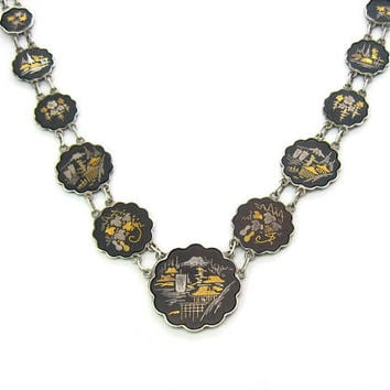 Japanese 24K Gold Sterling Silver Inlay Necklace. Amita Damascene Scenic & Flower Medallions. Etched 2 Sides. Vintage 1950s Shakudo Jewelry