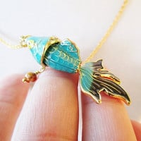 Teal & Black Cloisonne Koi Fish and Gold Chain Necklace