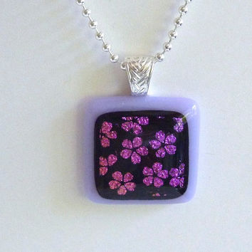 Dichroic Fused Glass Pendant with Cherry Blossoms over Lavender