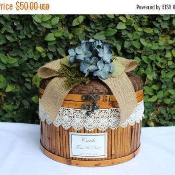 ON SALE Wedding Card Box / Rustic Wedding Trunk Cardholder / Rustic Trunk Chest / Lace and Burlap