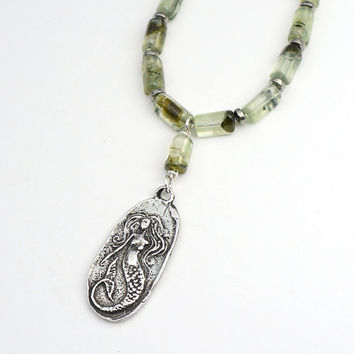 Green mermaid necklace with semiprecious prehnite beads, 20 1/4 inches long 51cm
