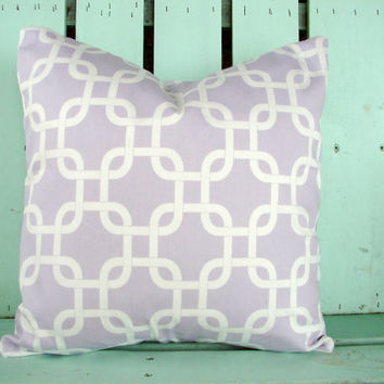 """New 16"""" X 16"""" lilac and antique white geometric print designer fabric- decorative pillow cover-throw pillow-accent pillow"""