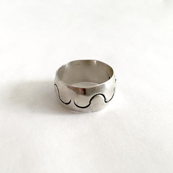 "Elegant Sterling Silver, Made in Mexico, Wide Band, Modernist Ring, Approximate Size 8 1/2"", Unisex Ring, +/- 8 grams"
