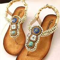 Beads Embellished Flat Sandals YER060502 from topsales
