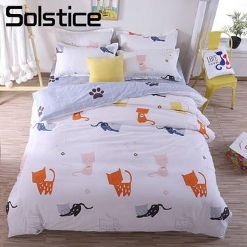Cool Solstice Home Textiles Cartoon Little Cat Duvet Cover Bed Sheet Pillowcase Boys Girls Kid Teen Bedding Sets King Queen Twin SizeAT_93_12