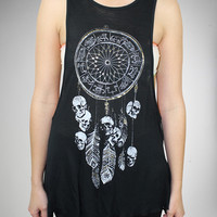 Dreamcatcher Skull Lacelaser Junior Fitted Tank