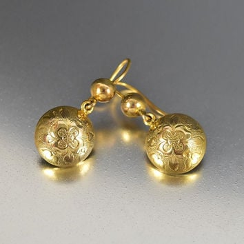Antique Victorian Forget Me Not Gold Earrings