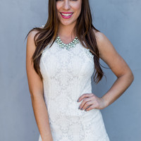Lace and Crochet Dress in White