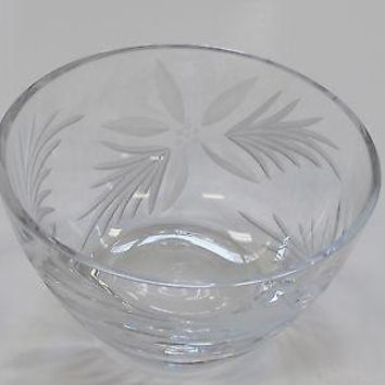 Hand cut lead  Crystal bowl, Poinsettia one of a kind glass