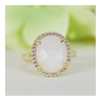 Halo Natural Moonstone and Cubic Zirconia Cocktail Ring In Gold-Plated Sterling Silver