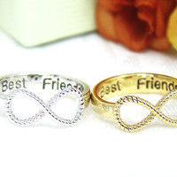 Best Friends Ring Infinity Ring Best Friend Engraved Ring Jewelry Gold Silver Infinite Love gift idea