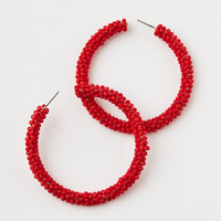 AE Red Seed Bead Hoop Earring, Red