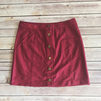 Olivia Button Front Skirt (Burgundy)