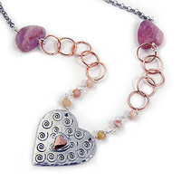Love You More Necklace | Silver Heart and Organic Ruby