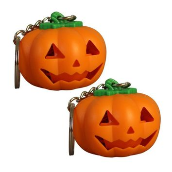 2 PCS LED Keyring Mini Cute Pumpkin LED Keychain Keychain Light Toy Gift For Birthday Childrens Day Halloween Accessories