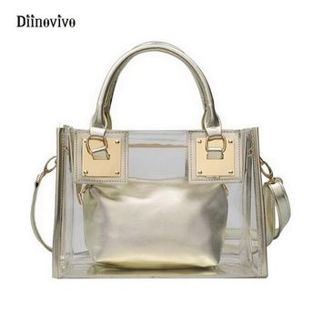 Metallic Clear Bag Transparent Handbag Shoulder Bags