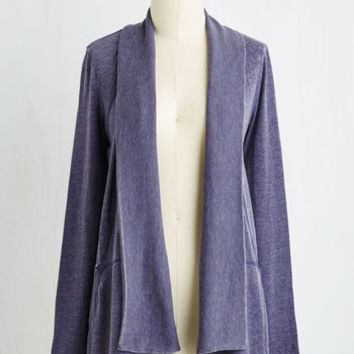 Athletic Mid-length Long Sleeve Your Fill of Chill Cardigan in Slate