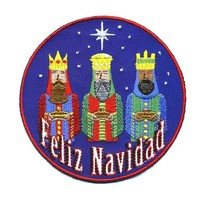 "Embroidered Iron On Patch - Feliz Navidad Merry Christmas 3 Wise Men 3.5"" Patch"