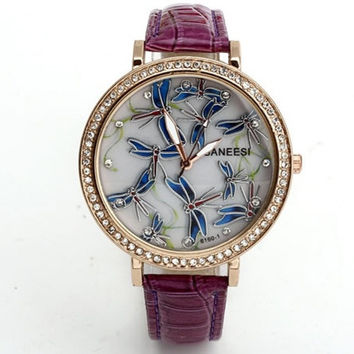 Women's Fashion Dragonfly Pattern Leather Strap Quartz Wrist watch -7 Colors = 1956848260