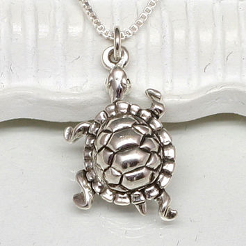 Silver Turtle Necklace, Sterling Silver