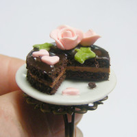 Scented or Unscented Chocolate Hearts and Roses Cake Miniature Food Ring - Miniature Food Jewelry,Handmade Jewelry Ring
