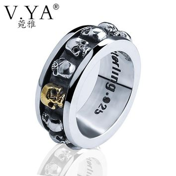 V.YA Brand Sterling SilverJewelry Vintage 925 Sterling Silver Skull Rings for Men Women Rotatable 3D Skull Head Ring Punk Style