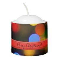 Multicolored Christmas lights. Add text or name. Votive Candle