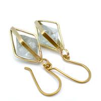 Geometric Cage Earrings in Yellow Brass With Fluorite Octahedron Crystals