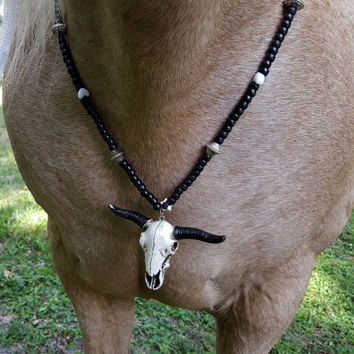 Cow Skull Necklace for Horses - Necklace for Equine - Black and White Equine Jewelry