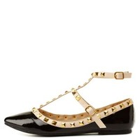 Black Studded Pointed Toe T-Strap Flats by Charlotte Russe
