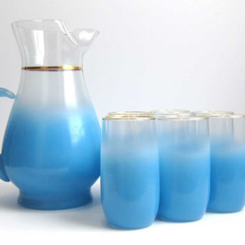 Vintage West Virginia Glass Blue Blendo Pitcher Set with 8 Tumbler Glasses