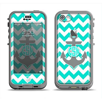 The Teal Green and Gray Monogram Anchor on Teal Chevron Apple iPhone 5c LifeProof Nuud Case Skin Set