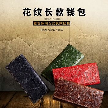 2018 new leather purse retro embossed wax leather long ladies purse fashion leather clutch bag