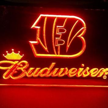 b-265 Cincinnati bengals Budweiser beer bar pub club 3d signs LED Neon Light Sign man cave