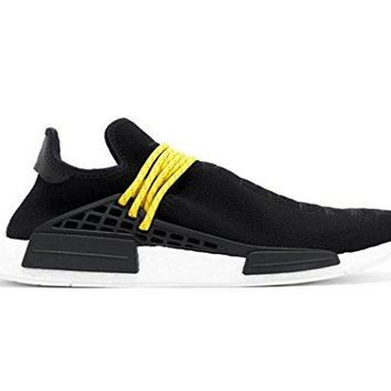 bashy fashion Unisex NMD hu Human Race New Black/Yellow Lace Pharrell Williams Tennis Sneakers Shoes
