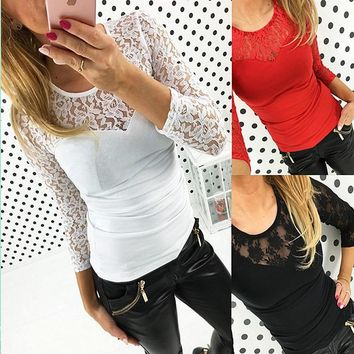 Tight Stitching T-shirt Lace Tops