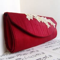 Dark red silk clutch with champagne beaded lace by toriska on Etsy