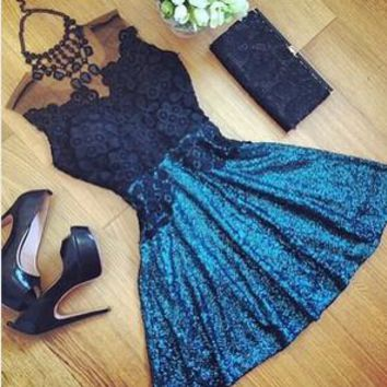 Blue Lace Splice Hollow Dress