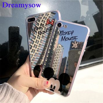Original Cute Minnie Mirror Silicone Cases for iPhone XS MAX XR X 6 6s Case TPU Mickey Mouse Case for iPhone 7 8 5 5s SE Case