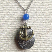 Antiqued silver  locket necklace with blue jade and anchor