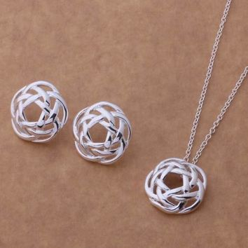 Rose Dome Sterling Silver Necklace and Earrings Set
