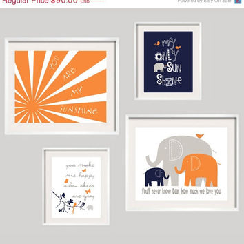 ON SALE Kids Wall Art, You Are My Sunshine, Orange Navy and Gray Nursery Decor 11x14 and 8x10 - Toddler Wall Art - YassisPlace FRAMES Not In