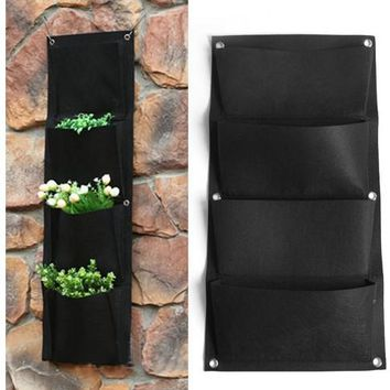 4 Pockets Black Indoor Outdoor Hanging Planter Bag Wall-mounted Plant Vertical Garden Decor Pocketgarden