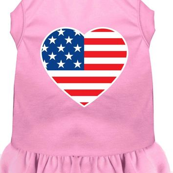 American Flag Heart Screen Print Dress Light Pink Sm (10)